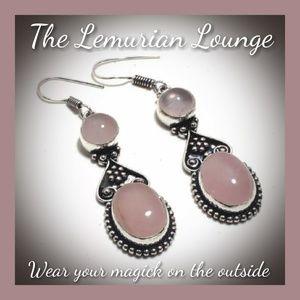 Handmade Boho Gypsy Rose Quartz Earings
